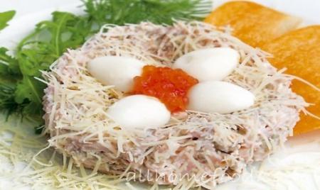 Рецепт салата Перепелиное гнездо. Отличная закуска