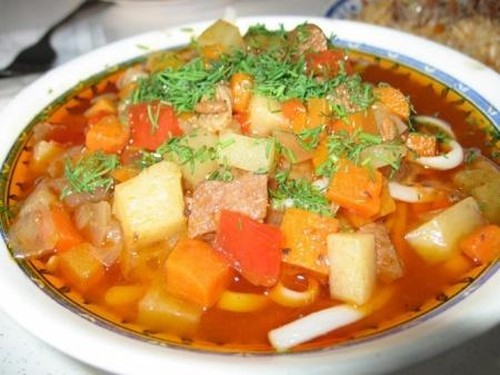 Рецепт суп Лагман. Сытное и оригинальное блюдо