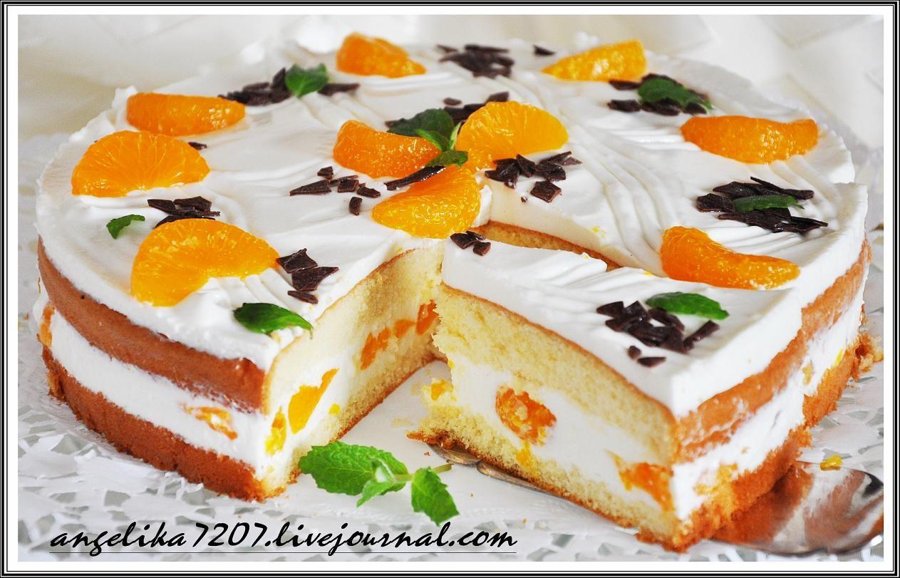 Бисквитный торт с творожным кремом и желе и фруктами рецепт