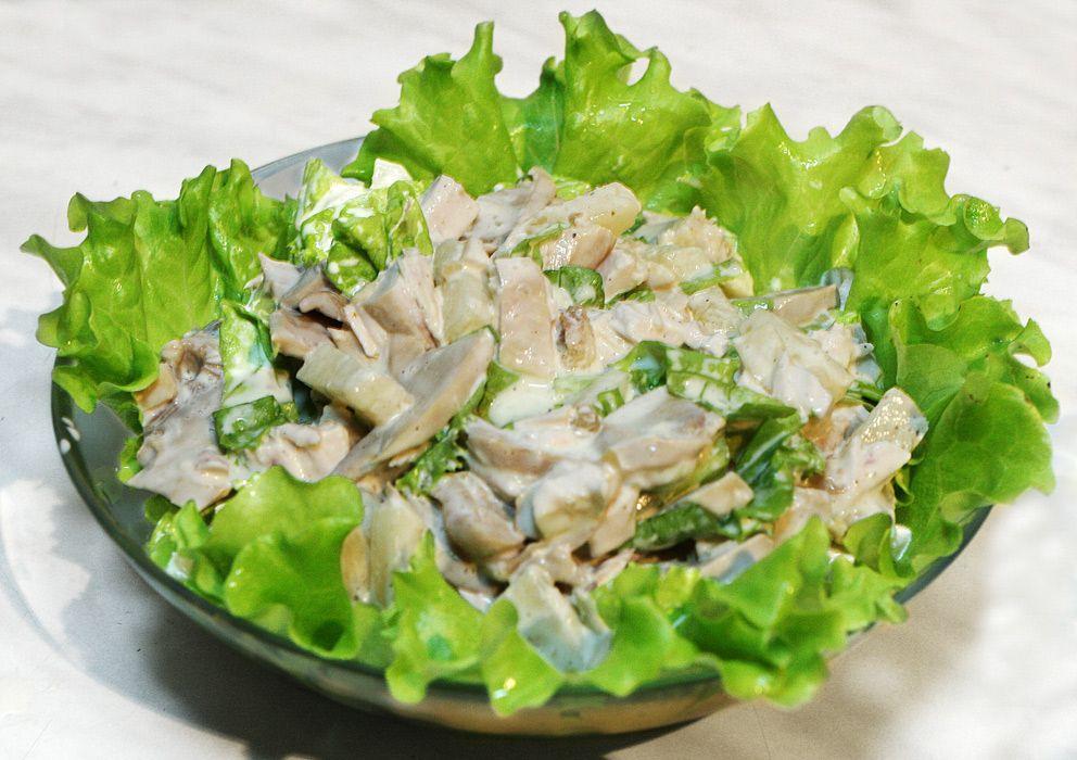салат из курицы и грибов фото рецепт