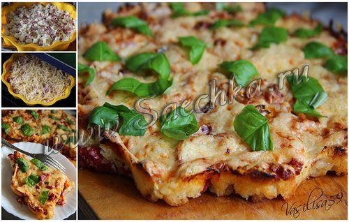 пицца из белого хлеба на сковороде видео