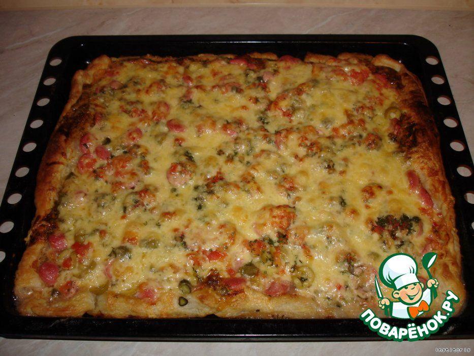 Пицца из слоеного теста с фаршем рецепт