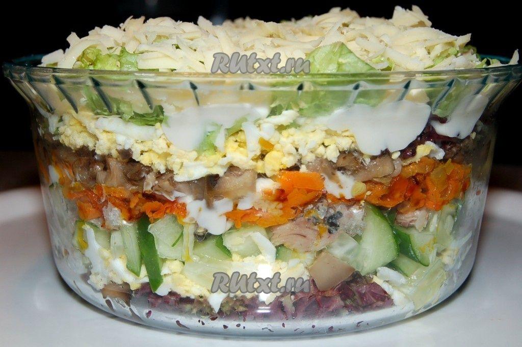 Фото рецептов салатов с шампиньонами