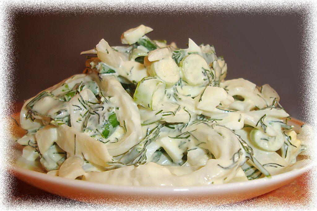 Рецепт, салат из кальмаров, фото