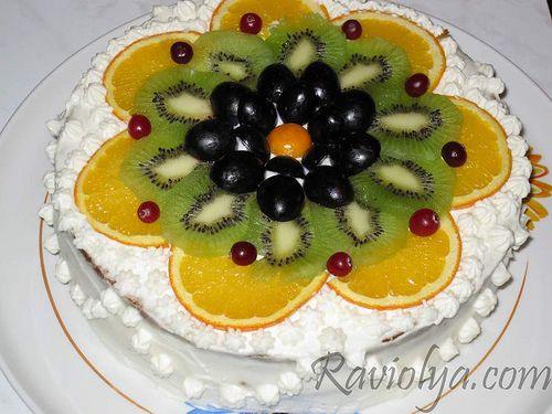 Украсить торт своими руками фруктами фото